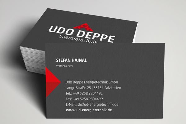 Visitenkarten für die Firma Udo Deppe Energietechnik