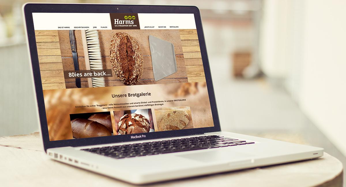 Webseite Design & Programmierung für die Bäckerei Harms