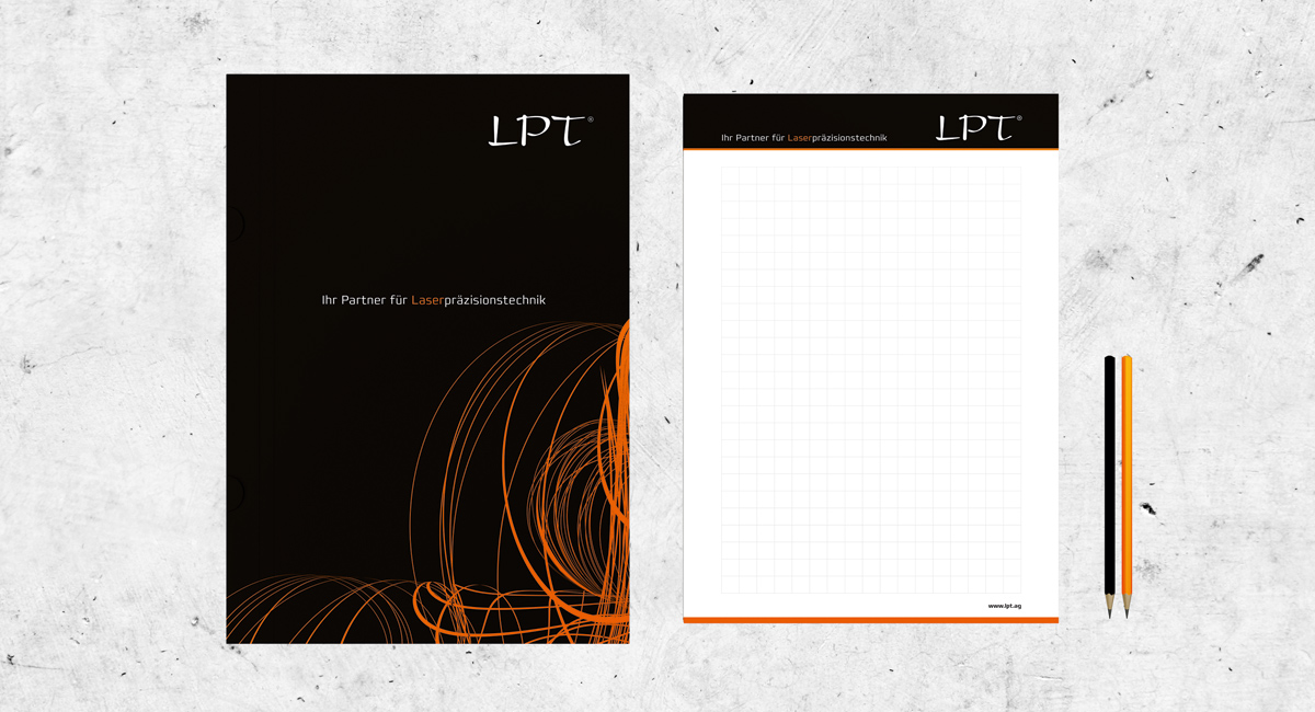 Schreibblock für die Firma LPT - Laserpräsizionstechnik