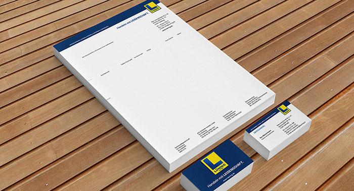 Briefpapier und Visitenkarte - Lüning