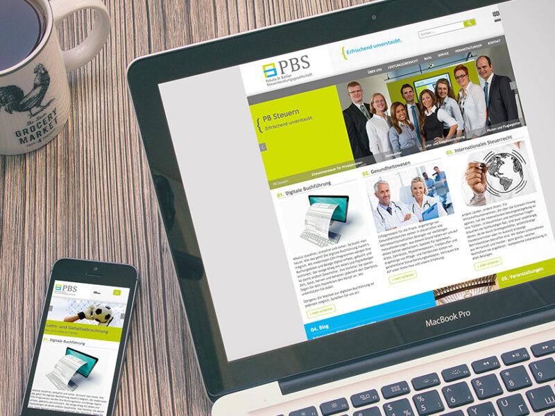 Webseite für Desktop und Mobile Endgeräte - Firma PBS Steuerberater