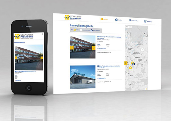 Responsive Webseite der Werbeagentur SILBERWEISS für die Wirtschaftsförderungsgesellschaft Paderborn